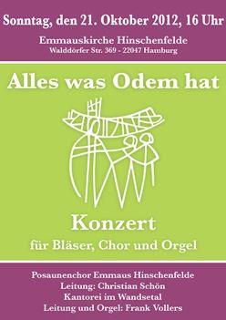 Alles was Odem hat - Konzert für Bläser, Chor und Orgel
